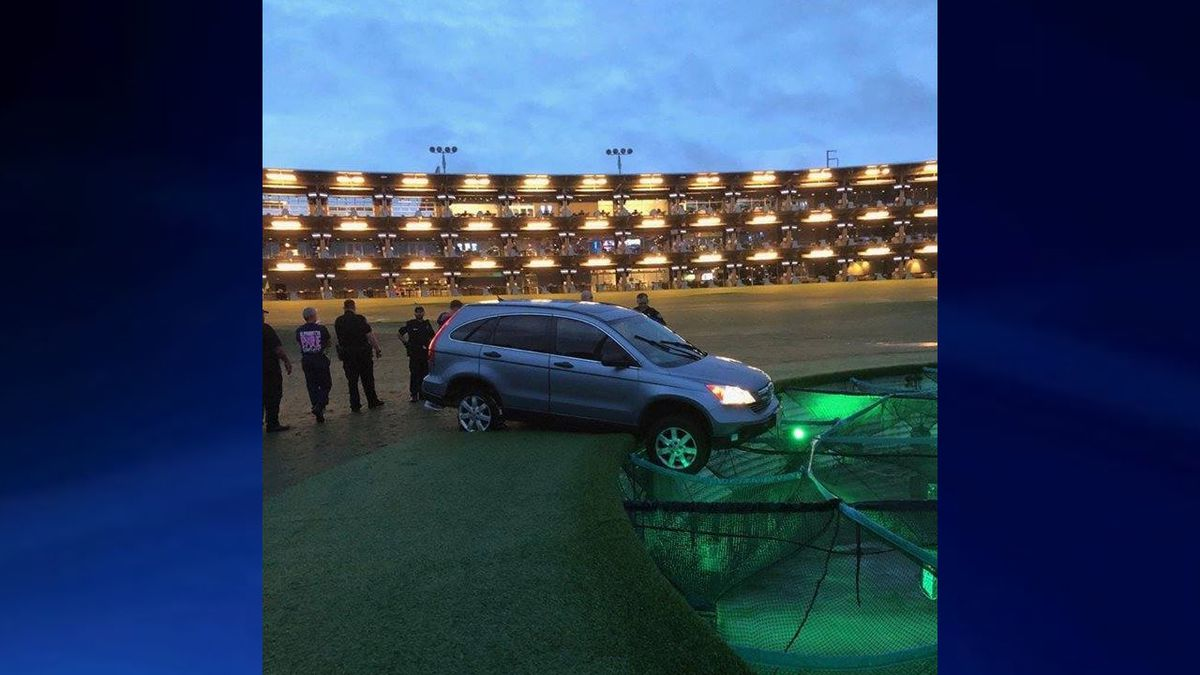 Stolen car drives onto Topgolf course, gets stuck on target