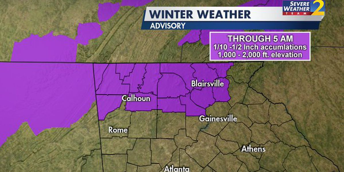 Winter weather advisory issued for parts of north Georgia