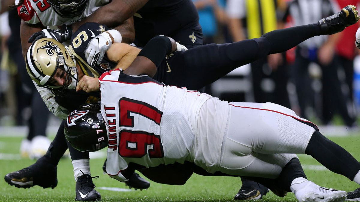 Falcons dominate on defense, upset rival Saints for their 2nd win of season