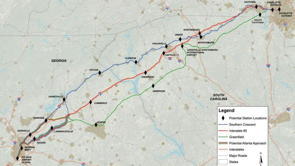 Atlanta to Charlotte in 2 hrs, 6 mins? Study looks at high-speed rail system