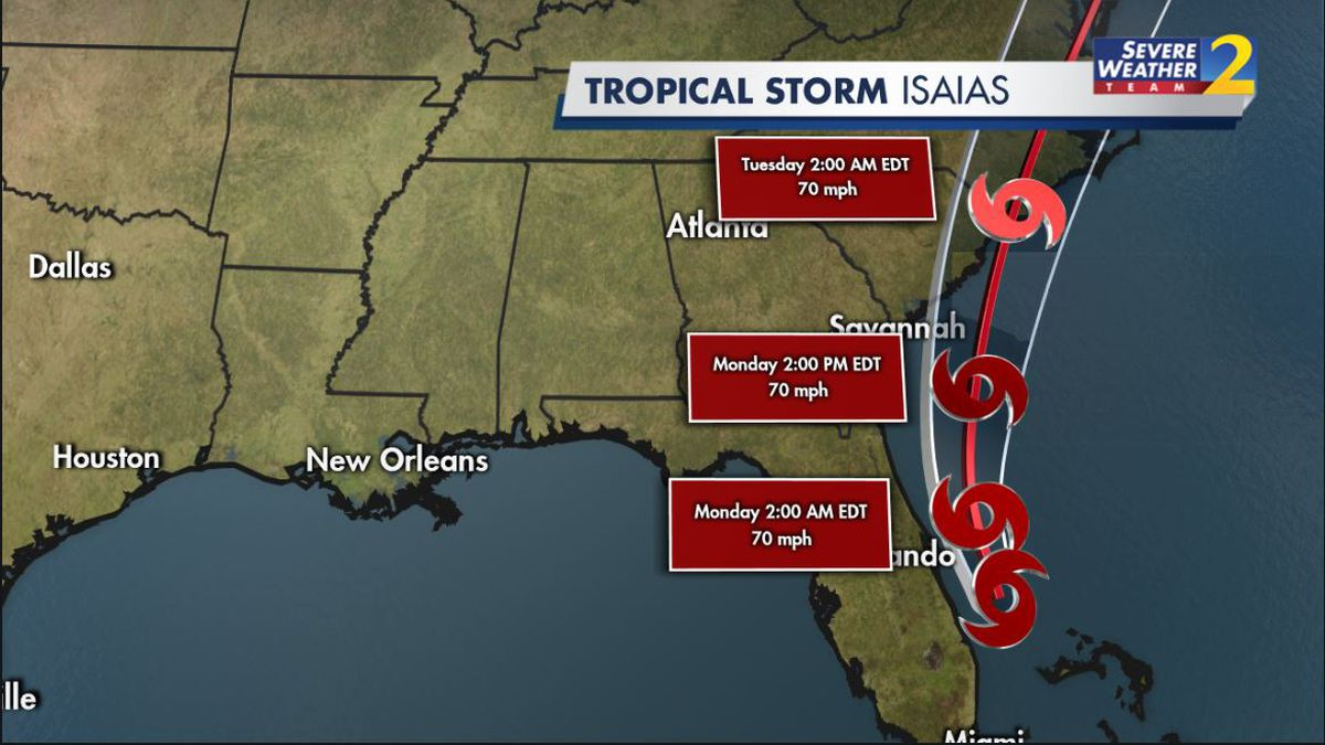 Tracking Isaias: Tropical Storm Warning in effect for Georgia coast
