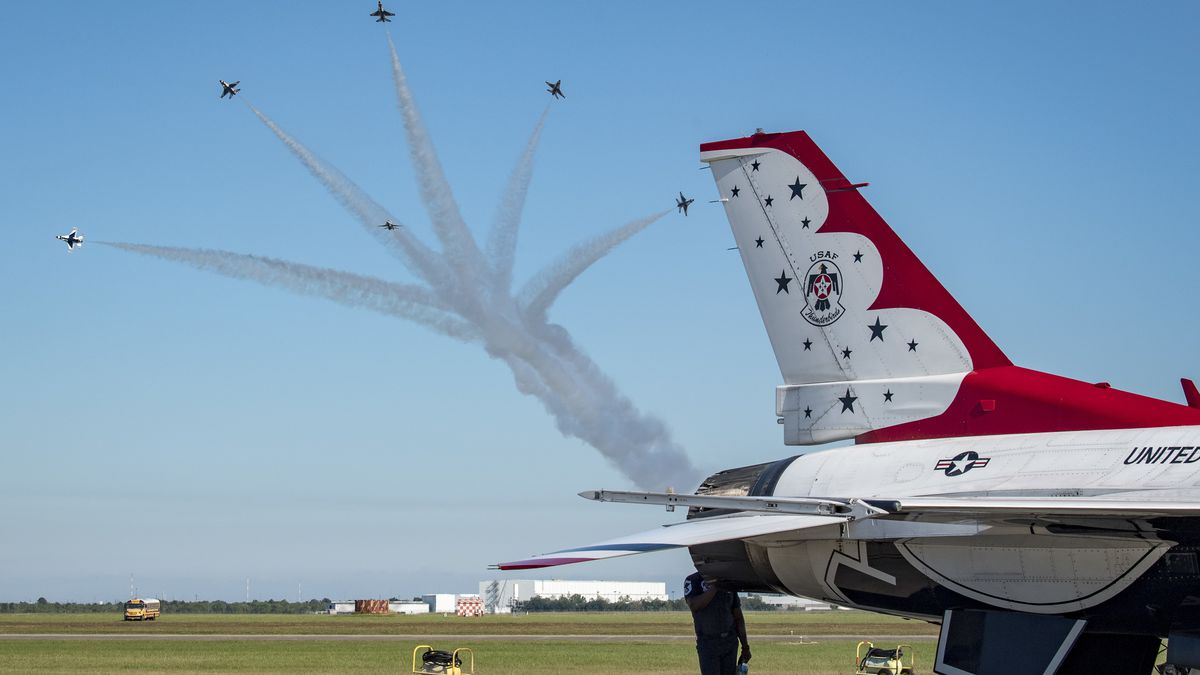 """The United States Air Force Air Demonstration Squadron """"Thunderbirds"""" execute a practice demonstration over Ellington Field Joint Reserve Base, Houston, Texas, Oct. 18, 2019, in preparation for the Wings Over Houston airshow. The team is comprised of 130 Airmen from more than 25 different career fields, representing all 685,000 total force Airmen serving around the globe. (U.S Air Force Photo by Maj. Ray Geoffroy)"""