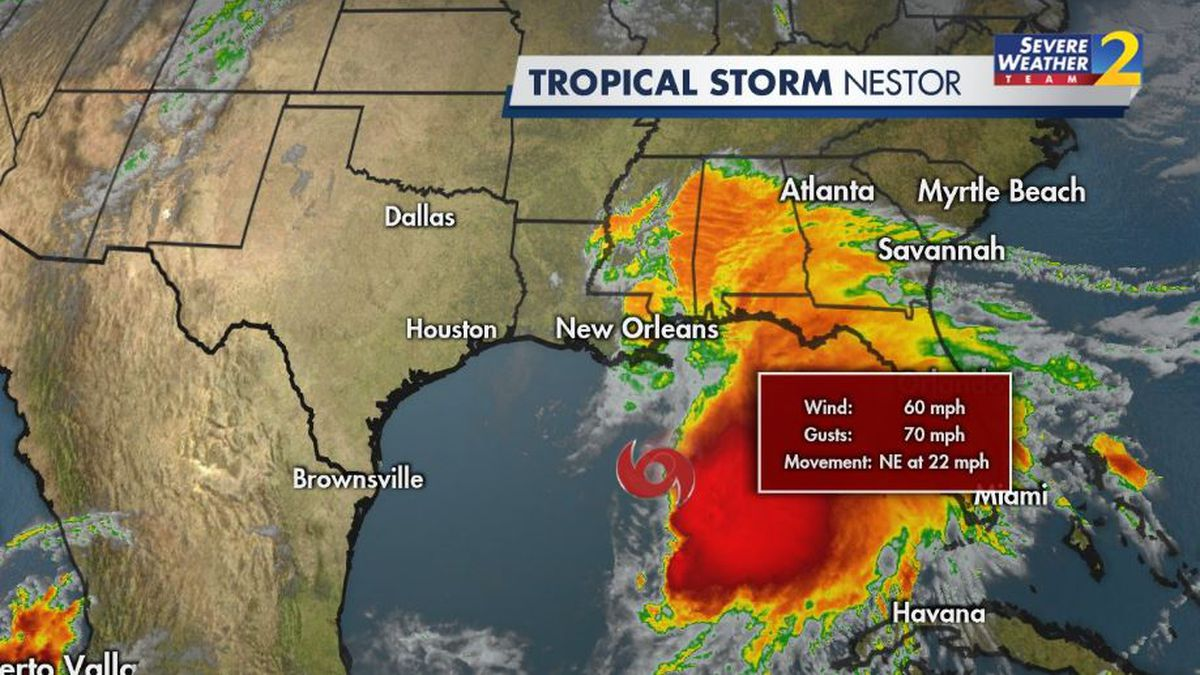 Tropical Storm Nestor forms in Gulf of Mexico; will bring heavy rain to Georgia