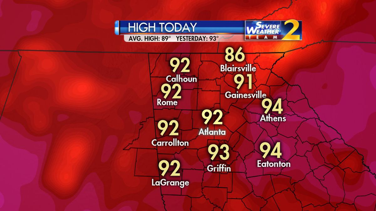 Temperatures in the 90s, rising humidity for Wednesday afternoon