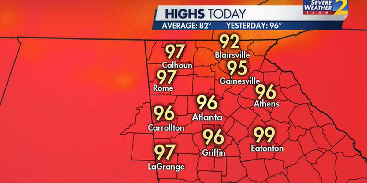 Atlanta sets record-high temperature for today with 98 degrees