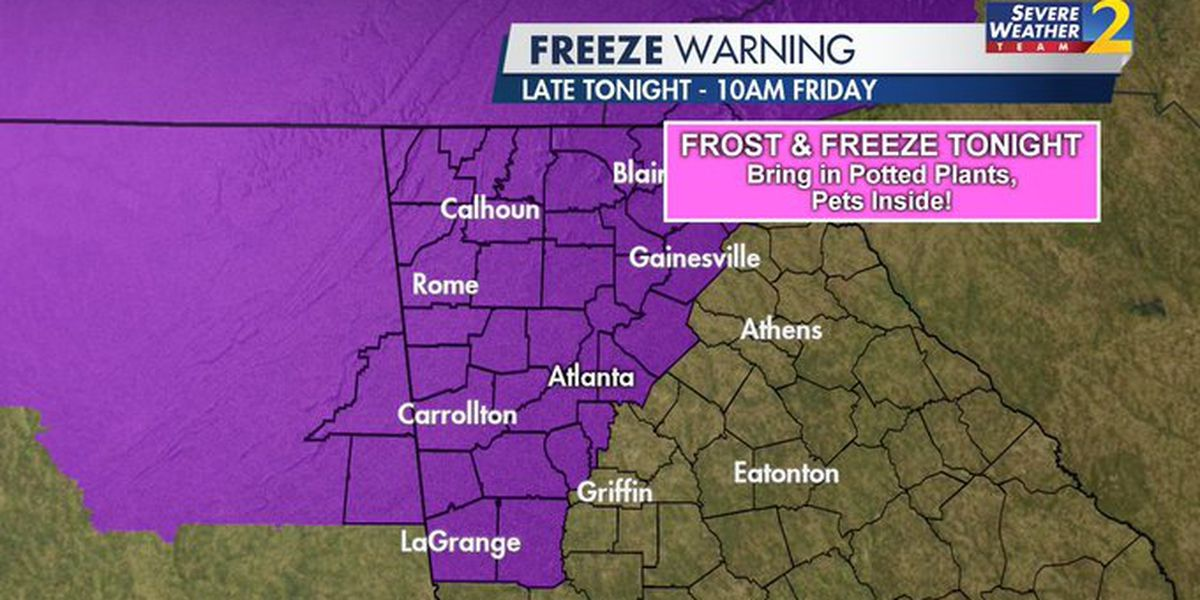 Freeze warning in effect as temps take dramatic drop across north Georgia