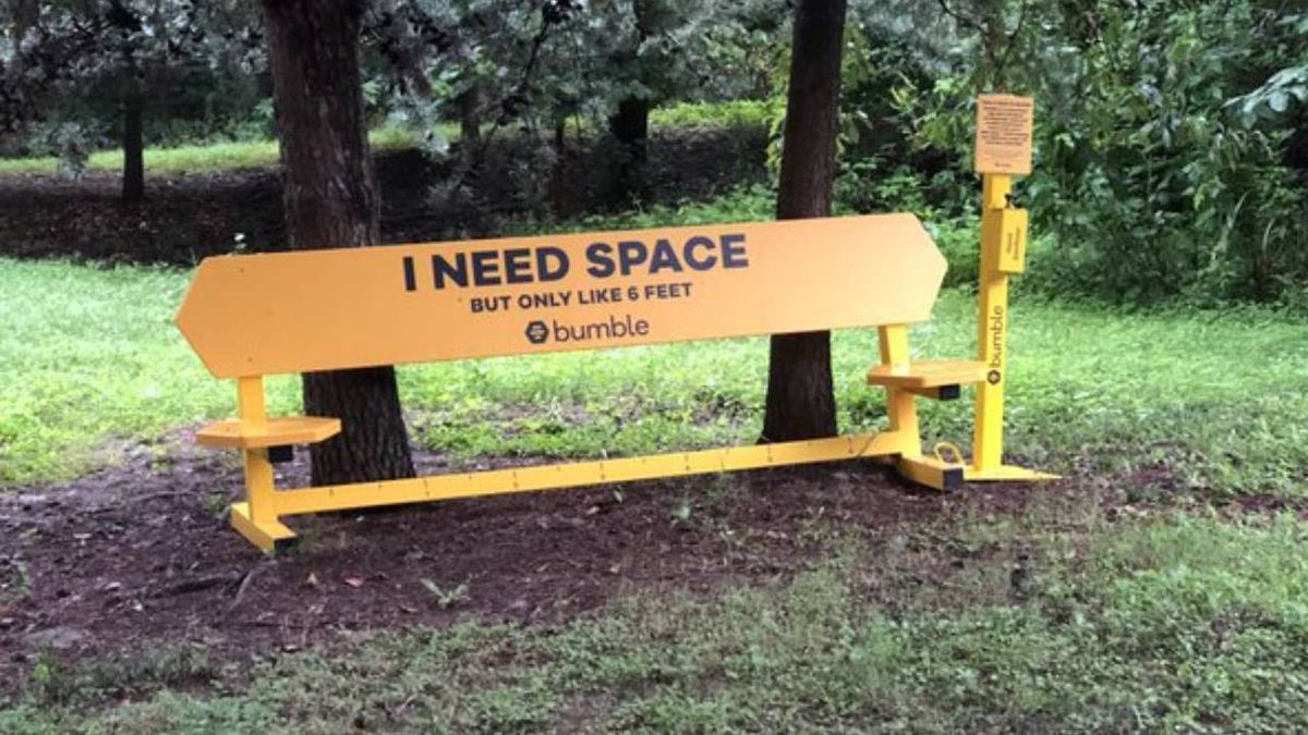 Dating app brings benches to Atlanta to help with socially distant meetups