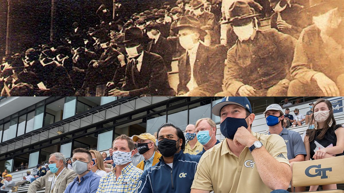 Man recreates great-grandfather's photo of Tech game during 1918 Spanish flu pandemic