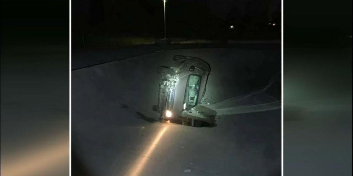 Driver crashes minivan into skate park bowl