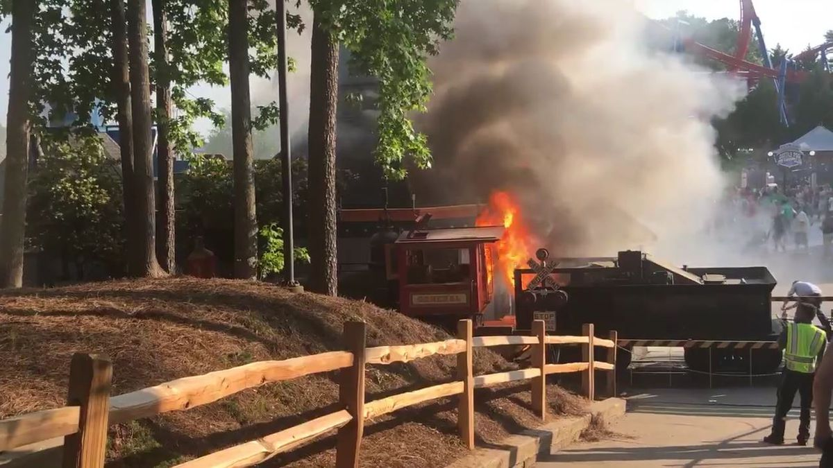 Fire on Six Flags Over Georgia ride sends two employees to hospital (VIDEO)