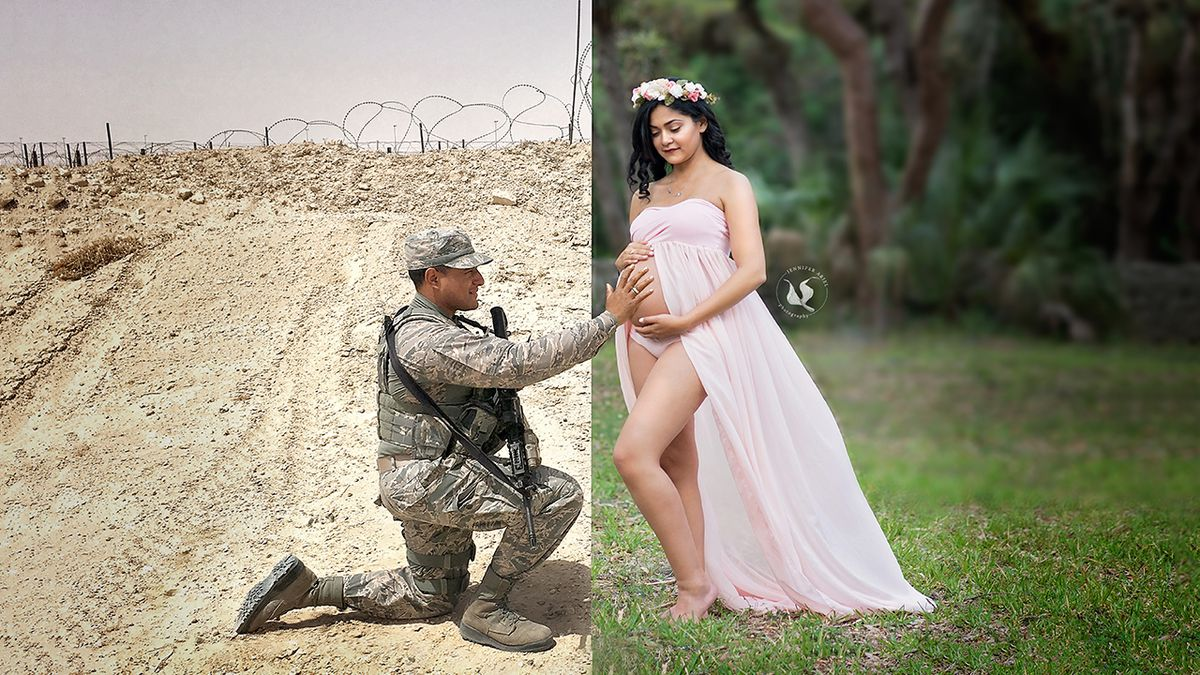 Emotional picture captures the reality of a military pregnancy