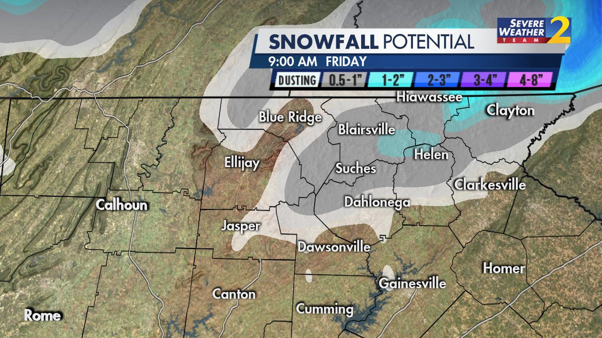 Snow, wintry mix possible in parts of north Georgia this week